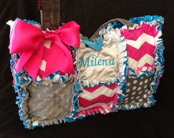 Custom Made rag quilt diaper bag hot pink chevron, gray and turquoise for baby girl handbag