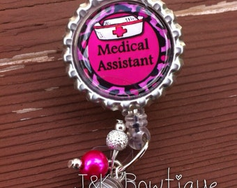 Medical Assistant - retractable badge reel with beads for bling