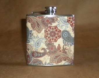SALE Flask Paisley Print of Brown, Blue and Tan 6 ounce Stainless Steel Flask KR2D 7146