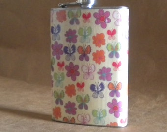 Price Reduced Ready to Ship Butterfly Print 8 ounce Girl Gift Flask on Sale KR2D7454