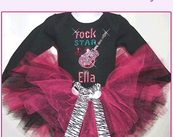 Rock Star Tutu Set , Rock Star Birthday Tutu , Rocker Girls Tutu , Rock Star Baby Tutu , Rock Star Theme Birthday Tutu , Rock Star Birthday