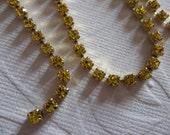 Rhinestone Chain Citrine Yellow Preciosa Czech Crystal 3mm 24PP 12SS in Brass Setting - Qty 36 inch strand