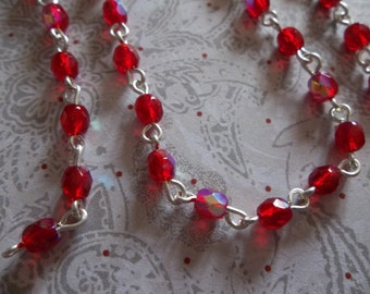 Bead Chain Ruby Red AB 4mm Fire Polished Glass Beads on Silver Beaded Chain - Qty 18 inch strand