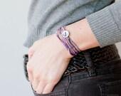 Wrap Bracelet. Crochet Bracelet in purple and lavender nuanced · Textile Jewelry. Coiled bracelet. Crochet Jewelry. Friendship Bracelet.