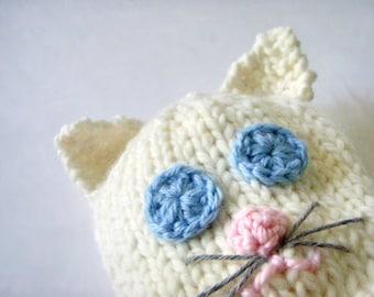Eco Friendly Baby animal hat, Knit Newborn hat, Newborn photo prop, Organic Wool Baby hat, Knit Crochet Infants Bio wool, White cat baby hat