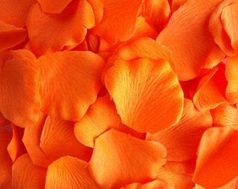 200 Silk Artificial Rose Petals Tangerine ORANGE Wedding Flower Girl Reception Table Decoration