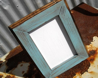 11x14 Picture Frame, Baby Blue Rustic Weathered Style With Routed Edges, Rustic Home Decor