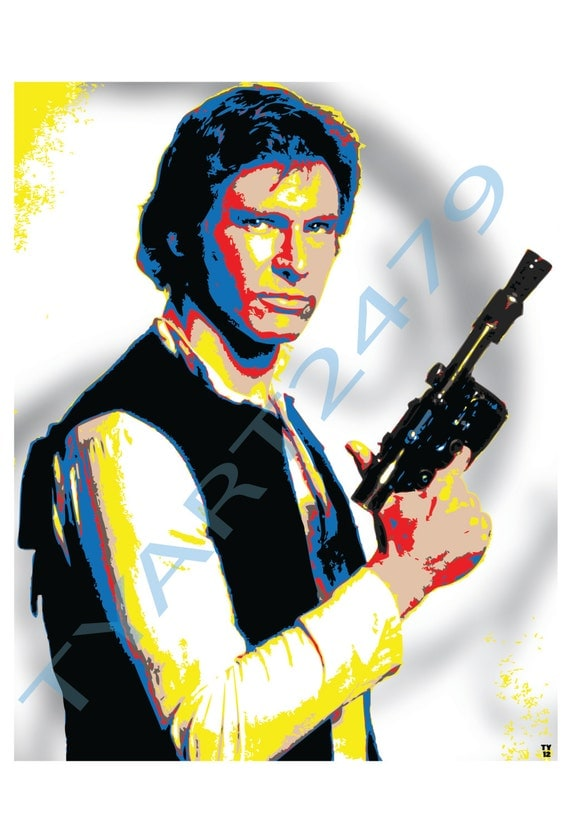 wall art home decor han solo star wars pop art print. Black Bedroom Furniture Sets. Home Design Ideas