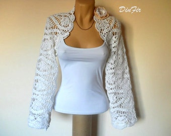 SALE Bridal SHRUG BOLERO / Wedding Accessories Cape Hand Knitted Bridesmaid / Crochet Elegant Jacket Feminine Women Capelet Romantic Gift