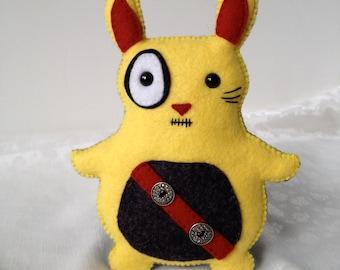 Stuffed Animal Rabbit Plush Yellow and Black Zombie Bunny Plushie Stuffie Soft Toy