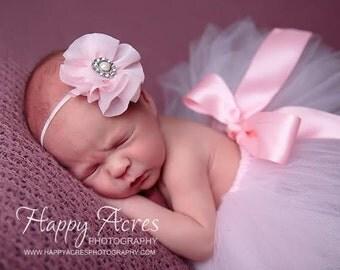 Palest Pink Tutu and headband, newborn tutu, newborn photography prop, baby tutu and headband