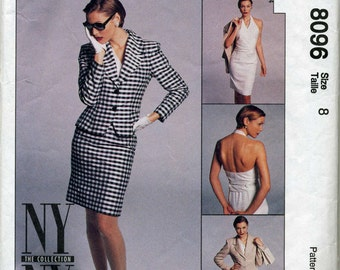 New York Collection Lined Jacket, Halter Wrap Top and Skirt Sewing Pattern - McCall's 8096 - Size 8