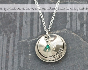 Personalized mother necklace - Hand stamped necklace. Personalized Gift for Women.