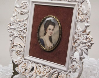 Picture A Cameo Creation Unknown Girl Portrait ca1940 Ornate French Country White Frame Convex Glass Hand Painted by OlliesFineThings