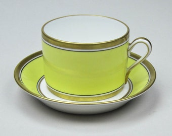 50% Off China Teacup and Saucer Set in Fine Italian Porcelain China by Richard Ginori Vintage Impero - Yellow Pattern