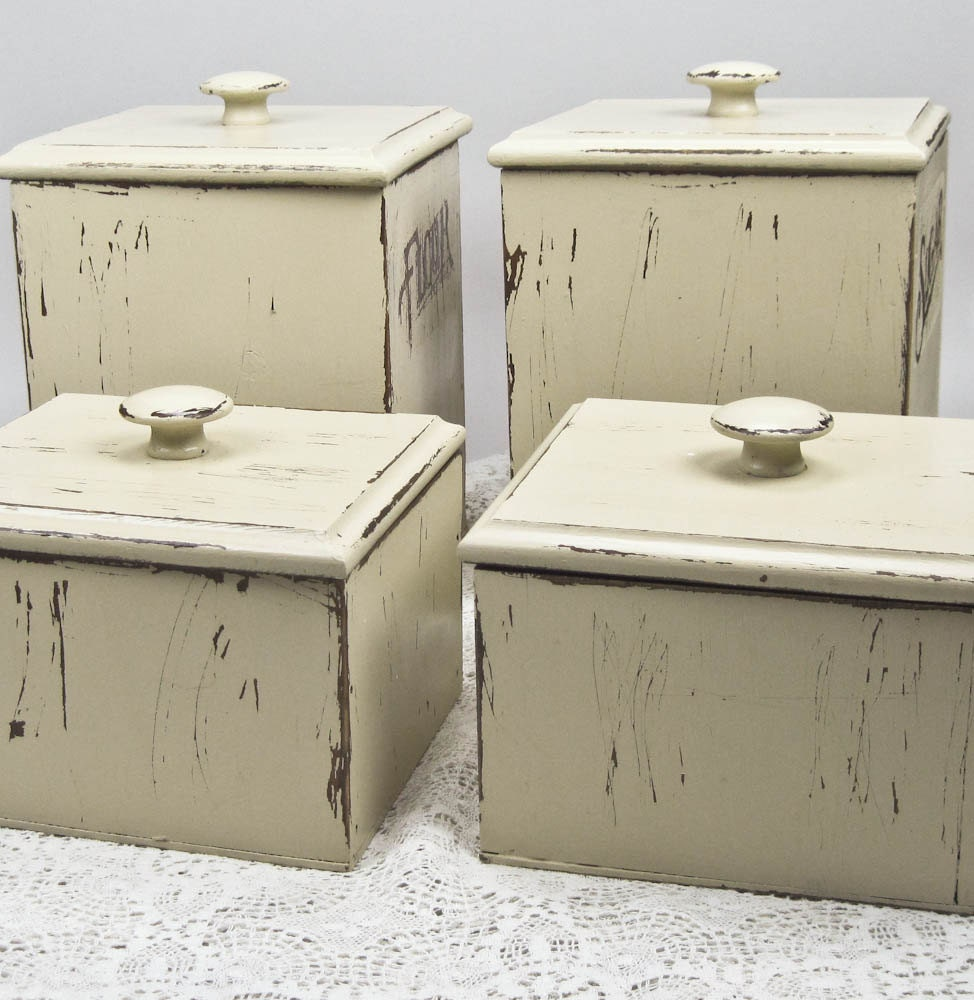 wooden kitchen canisters farmhouse chic hand painted and airtight glass canisters with wooden lids set of 3