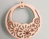 6pcs Pretty Nature Flower Basket Wooden  Charm/Pendant 50mm