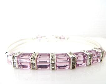 Birthstone Bracelet, Light Amethyst Bracelet, Swarovski Bracelet, June Birthday, Mother Day Gift, Holiday, Free US Shipping