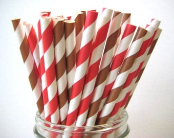 NEW LOW PRICE 25 Red and Brown Stripe Paper Straws Wedding Birthday Baby Shower Party / Cake Pop