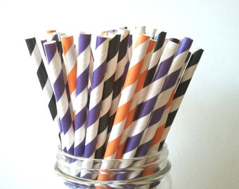 25 Halloween Trio Violet Black Orange Paper Straws Wedding Birthday Baby Shower Party / Cake Pop