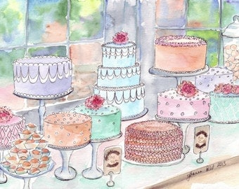 Cake Watercolor Painting no. 1 - Colorful Food Art Illustration Still Life Watercolor Painting - 5x7 Print
