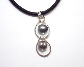 Black Tahitian Pearl Pendant Forged Metal Necklace Sterling Silver Jewelry
