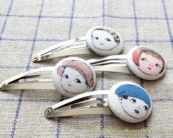 Hair Accessories, Handmade Hair Snap Clips - Fabric Button Retro Vintage-Inspired Paper Dolls Boylish Girls (1 PCS, Choose Pattern)