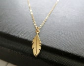 Tiny feather necklace, golden bronze feather charm necklace, 14k gold filled delicate chain, nature jewelry