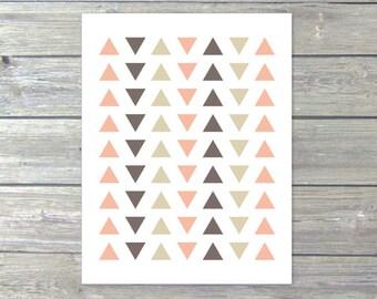 Simple Triangles  - Digital Print - Tribal Modern Home Decor -Peach Taupe Tan - Southwestern - Geometric Poster Under 20