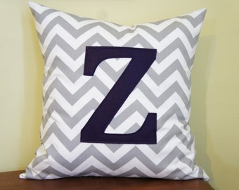 Z monogrammed pillow case, 20x20, grey chevron, any letter/colour available