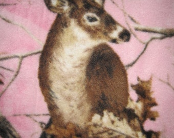 Deers on Pink with Brown Fleece Blanket - Ready to Ship Now