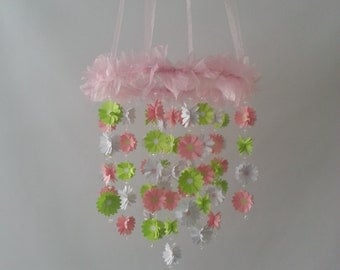 Pink Green White Daisy Flower Baby Mobile Available in ANY color combos
