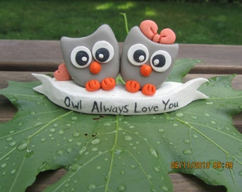 Custom Love Owls Clay Cake toppers