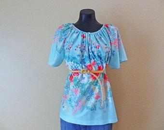 Aqua Peasant Blouse or BOHO shirt Vintage Womens size Large
