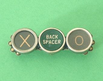 """Typewriter Key Pin - """"XO"""" and """"Back Spacer"""""""
