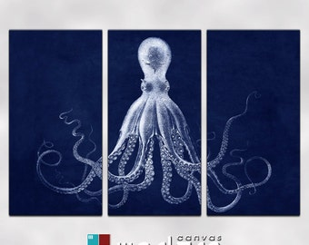 Lord Bodner Octopus Triptych Canvas Giclee -18 x 36 panels - Blue