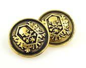 Metal Buttons - Skull Emblem Metal Buttons , Matte Black Painted Gold Color , Shank , 0.91 inch , 6 pcs