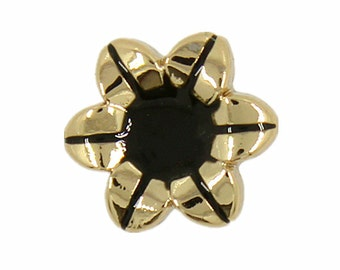 Metal Buttons - Black Enamel Morning Glory Metal Buttons , Gold Color , Shank , 0.43 inch , 10 pcs