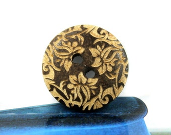 Brown Wooden Buttons - Japanese Style Mandala Wreath Pattern Brown Wood buttons. 0.79 inch, 10 pcs