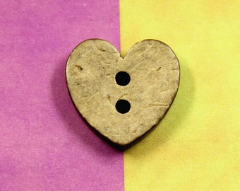 Heart Wood Buttons - 10 pieces of So Cute Heart Shape Coconut Buttons, 0.55 inch