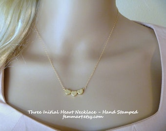 Three heart Charm Necklace | Initial Heart Necklace | Gold Heart | Mom Necklace | Sister Gift | Gift for her | Friendship Jewelry
