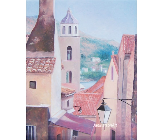Croatia paintings,  An oil painting of DUBROVNIK, framed in a white wooden frame