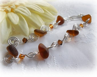 Beach Glass Bracelet - Wire Wrapped Spirals Bracelet