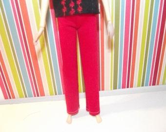 Dark red boot cut jean pants for pullip