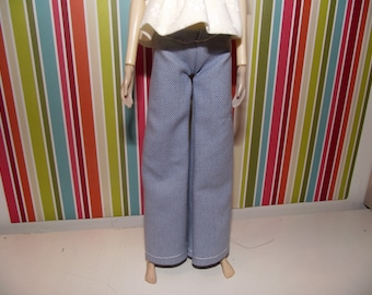 Light blue grey gray hippie bell bottom jeans for pullip