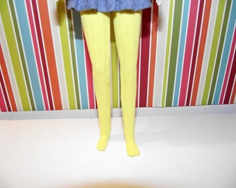 Bright yellow with dot texture tights stockings for pullip