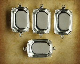 18x13mm Octagon Sterling Silver Plated Settings, Closed Backs, Two Rings/Loops, Quantity 4
