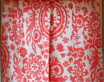 Storewide SALE Window Curtain- Premier Prints Coral Suzani Pair 25 x 63 or 84 or 96 or 108