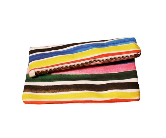 Items similar to Ice Pop Stripe Zipper Clutch on Etsy