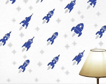 14 Retro Rockets Wall Decals with Stars: Kids Room Decor, Outer Space Decor, Wall Decal Pattern, Shown in Navy and Gray  | Rocket Ship Decor
